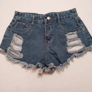 Vintage Distressed High Rise Denim Jean Short  M